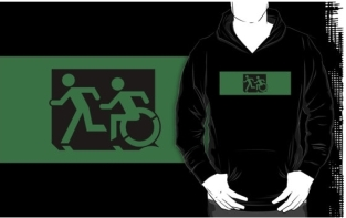 Accessible Exit Sign Project Wheelchair Wheelie Running Man Symbol Means of Egress Icon Disability Emergency Evacuation Fire Safety Adult T-shirt 290
