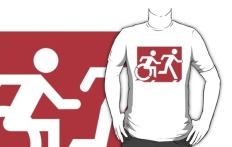 Accessible Exit Sign Project Wheelchair Wheelie Running Man Symbol Means of Egress Icon Disability Emergency Evacuation Fire Safety Adult T-shirt 291
