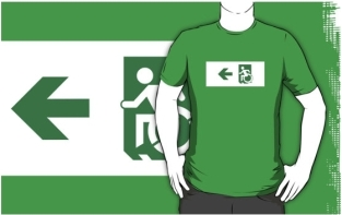 Accessible Exit Sign Project Wheelchair Wheelie Running Man Symbol Means of Egress Icon Disability Emergency Evacuation Fire Safety Adult t-shirt 29
