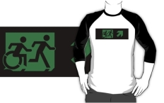 Accessible Exit Sign Project Wheelchair Wheelie Running Man Symbol Means of Egress Icon Disability Emergency Evacuation Fire Safety Adult T-shirt 292