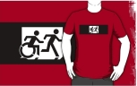 Accessible Exit Sign Project Wheelchair Wheelie Running Man Symbol Means of Egress Icon Disability Emergency Evacuation Fire Safety Adult T-shirt 293