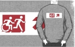 Accessible Exit Sign Project Wheelchair Wheelie Running Man Symbol Means of Egress Icon Disability Emergency Evacuation Fire Safety Adult T-shirt 296