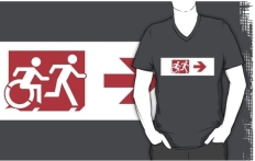Accessible Exit Sign Project Wheelchair Wheelie Running Man Symbol Means of Egress Icon Disability Emergency Evacuation Fire Safety Adult T-shirt 298