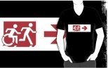 Accessible Exit Sign Project Wheelchair Wheelie Running Man Symbol Means of Egress Icon Disability Emergency Evacuation Fire Safety Adult T-shirt 299