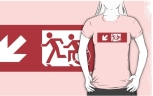 Accessible Exit Sign Project Wheelchair Wheelie Running Man Symbol Means of Egress Icon Disability Emergency Evacuation Fire Safety Adult T-shirt 3