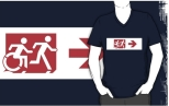 Accessible Exit Sign Project Wheelchair Wheelie Running Man Symbol Means of Egress Icon Disability Emergency Evacuation Fire Safety Adult T-shirt 300