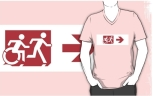 Accessible Exit Sign Project Wheelchair Wheelie Running Man Symbol Means of Egress Icon Disability Emergency Evacuation Fire Safety Adult T-shirt 301