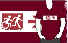 Accessible Exit Sign Project Wheelchair Wheelie Running Man Symbol Means of Egress Icon Disability Emergency Evacuation Fire Safety Adult T-shirt 302