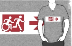 Accessible Exit Sign Project Wheelchair Wheelie Running Man Symbol Means of Egress Icon Disability Emergency Evacuation Fire Safety Adult T-shirt 303