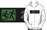Accessible Exit Sign Project Wheelchair Wheelie Running Man Symbol Means of Egress Icon Disability Emergency Evacuation Fire Safety Adult T-shirt 304
