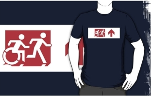 Accessible Exit Sign Project Wheelchair Wheelie Running Man Symbol Means of Egress Icon Disability Emergency Evacuation Fire Safety Adult T-shirt 306
