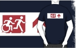 Accessible Exit Sign Project Wheelchair Wheelie Running Man Symbol Means of Egress Icon Disability Emergency Evacuation Fire Safety Adult T-shirt 307