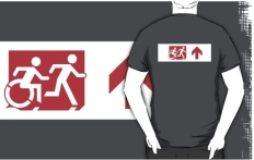 Accessible Exit Sign Project Wheelchair Wheelie Running Man Symbol Means of Egress Icon Disability Emergency Evacuation Fire Safety Adult T-shirt 308