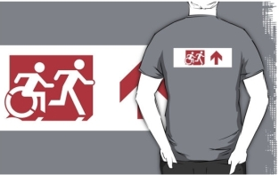 Accessible Exit Sign Project Wheelchair Wheelie Running Man Symbol Means of Egress Icon Disability Emergency Evacuation Fire Safety Adult T-shirt 309