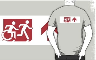 Accessible Exit Sign Project Wheelchair Wheelie Running Man Symbol Means of Egress Icon Disability Emergency Evacuation Fire Safety Adult T-shirt 310