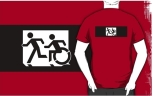 Accessible Exit Sign Project Wheelchair Wheelie Running Man Symbol Means of Egress Icon Disability Emergency Evacuation Fire Safety Adult T-shirt 313