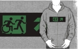 Accessible Exit Sign Project Wheelchair Wheelie Running Man Symbol Means of Egress Icon Disability Emergency Evacuation Fire Safety Adult T-shirt 316
