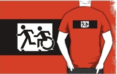 Accessible Exit Sign Project Wheelchair Wheelie Running Man Symbol Means of Egress Icon Disability Emergency Evacuation Fire Safety Adult T-shirt 319