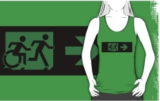Accessible Exit Sign Project Wheelchair Wheelie Running Man Symbol Means of Egress Icon Disability Emergency Evacuation Fire Safety Adult T-shirt 32