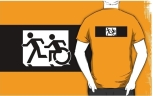 Accessible Exit Sign Project Wheelchair Wheelie Running Man Symbol Means of Egress Icon Disability Emergency Evacuation Fire Safety Adult T-shirt 320