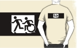 Accessible Exit Sign Project Wheelchair Wheelie Running Man Symbol Means of Egress Icon Disability Emergency Evacuation Fire Safety Adult T-shirt 322