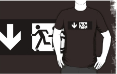 Accessible Exit Sign Project Wheelchair Wheelie Running Man Symbol Means of Egress Icon Disability Emergency Evacuation Fire Safety Adult T-shirt 326