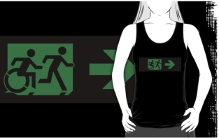 Accessible Exit Sign Project Wheelchair Wheelie Running Man Symbol Means of Egress Icon Disability Emergency Evacuation Fire Safety Adult T-shirt 328