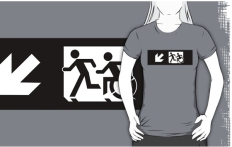 Accessible Exit Sign Project Wheelchair Wheelie Running Man Symbol Means of Egress Icon Disability Emergency Evacuation Fire Safety Adult T-shirt 330