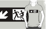 Accessible Exit Sign Project Wheelchair Wheelie Running Man Symbol Means of Egress Icon Disability Emergency Evacuation Fire Safety Adult T-shirt 331