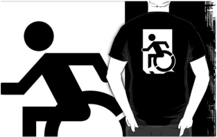 Accessible Exit Sign Project Wheelchair Wheelie Running Man Symbol Means of Egress Icon Disability Emergency Evacuation Fire Safety Adult t-shirt 33