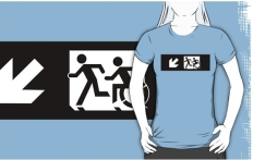 Accessible Exit Sign Project Wheelchair Wheelie Running Man Symbol Means of Egress Icon Disability Emergency Evacuation Fire Safety Adult T-shirt 334