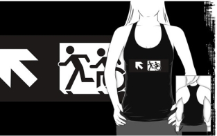 Accessible Exit Sign Project Wheelchair Wheelie Running Man Symbol Means of Egress Icon Disability Emergency Evacuation Fire Safety Adult T-shirt 338