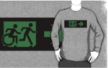 Accessible Exit Sign Project Wheelchair Wheelie Running Man Symbol Means of Egress Icon Disability Emergency Evacuation Fire Safety Adult T-shirt 340