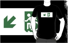 Accessible Exit Sign Project Wheelchair Wheelie Running Man Symbol Means of Egress Icon Disability Emergency Evacuation Fire Safety Adult t-shirt 34