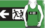Accessible Exit Sign Project Wheelchair Wheelie Running Man Symbol Means of Egress Icon Disability Emergency Evacuation Fire Safety Adult T-shirt 344