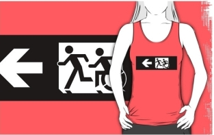 Accessible Exit Sign Project Wheelchair Wheelie Running Man Symbol Means of Egress Icon Disability Emergency Evacuation Fire Safety Adult T-shirt 345