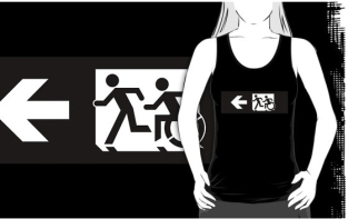 Accessible Exit Sign Project Wheelchair Wheelie Running Man Symbol Means of Egress Icon Disability Emergency Evacuation Fire Safety Adult T-shirt 348
