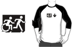 Accessible Exit Sign Project Wheelchair Wheelie Running Man Symbol Means of Egress Icon Disability Emergency Evacuation Fire Safety Adult T-shirt 35