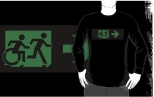 Accessible Exit Sign Project Wheelchair Wheelie Running Man Symbol Means of Egress Icon Disability Emergency Evacuation Fire Safety Adult T-shirt 352