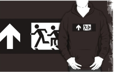 Accessible Exit Sign Project Wheelchair Wheelie Running Man Symbol Means of Egress Icon Disability Emergency Evacuation Fire Safety Adult T-shirt 355