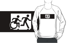 Accessible Exit Sign Project Wheelchair Wheelie Running Man Symbol Means of Egress Icon Disability Emergency Evacuation Fire Safety Adult T-shirt 357
