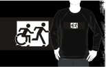 Accessible Exit Sign Project Wheelchair Wheelie Running Man Symbol Means of Egress Icon Disability Emergency Evacuation Fire Safety Adult T-shirt 358