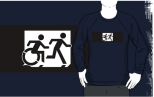 Accessible Exit Sign Project Wheelchair Wheelie Running Man Symbol Means of Egress Icon Disability Emergency Evacuation Fire Safety Adult T-shirt 359