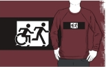 Accessible Exit Sign Project Wheelchair Wheelie Running Man Symbol Means of Egress Icon Disability Emergency Evacuation Fire Safety Adult T-shirt 360
