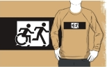 Accessible Exit Sign Project Wheelchair Wheelie Running Man Symbol Means of Egress Icon Disability Emergency Evacuation Fire Safety Adult T-shirt 361