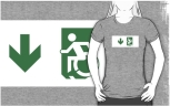 Accessible Exit Sign Project Wheelchair Wheelie Running Man Symbol Means of Egress Icon Disability Emergency Evacuation Fire Safety Adult t-shirt 36