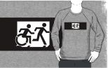Accessible Exit Sign Project Wheelchair Wheelie Running Man Symbol Means of Egress Icon Disability Emergency Evacuation Fire Safety Adult T-shirt 362
