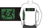 Accessible Exit Sign Project Wheelchair Wheelie Running Man Symbol Means of Egress Icon Disability Emergency Evacuation Fire Safety Adult T-shirt 364
