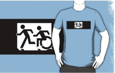 Accessible Exit Sign Project Wheelchair Wheelie Running Man Symbol Means of Egress Icon Disability Emergency Evacuation Fire Safety Adult T-shirt 365