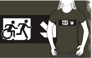 Accessible Exit Sign Project Wheelchair Wheelie Running Man Symbol Means of Egress Icon Disability Emergency Evacuation Fire Safety Adult T-shirt 371